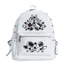 Women Trendy Fashion Rivet Nail Beads Backpack Luxury Crocodile Printing Small Bag Top Quality PU Daypack White Casual Bag