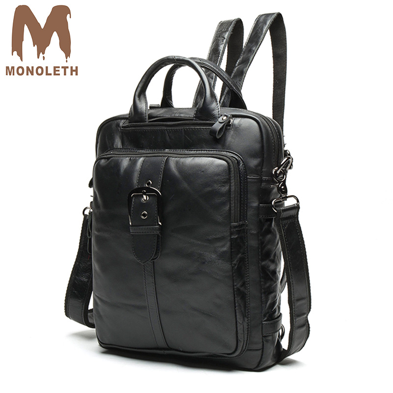 MONOLETH High Quality Vintage Genuine Leather Backpack Men's Bag Women Casual Shoulder Backpacks Small Bag Light Black Bag W8863 2017 small vintage navy blue deinm backpack with cover high quality women daily backpacks for travel 2colors casual jeans bag