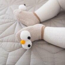Хлопковые нескользящие носки для новорожденных детские носки-тапочки милые детские носки для малышей с рисунком Больших Глаз