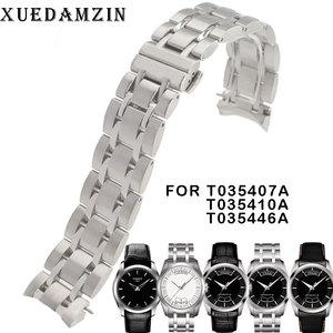 Image 1 - 22/23/24mm T035407A T035617A חדש שעון חלקי זכר מוצק נירוסטה צמיד רצועת Watchbands עבור T035614A /T035627