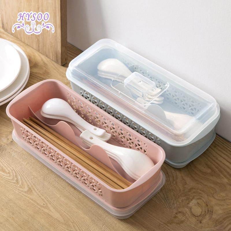 Chopsticks ruled lid storage box kitchen plastic cutlery spoon chopsticks cage draining