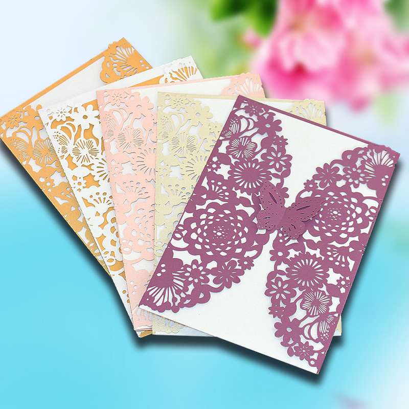 10 pcs/set Romantic Wedding/Business/Party/Birthday Invitation Cards with Inner Card Wedding Party Delicate Carved Pattern 1 design laser cut white elegant pattern west cowboy style vintage wedding invitations card kit blank paper printing invitation