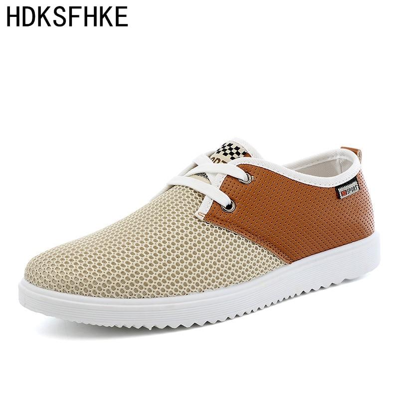 2017 الصيف الرجال عارضة أحذية أحذية للرجال الذكور المشي تنفس الأحذية المتسكعون الرجال الأزياء والأحذية الرجال شبكة الأحذية