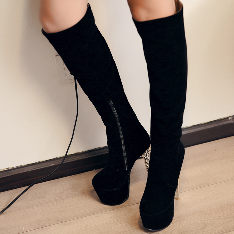 ФОТО Winter Autumn female thigh high boots Zipper Thin High Heel women Boots cowhide Platform Pump Women Snow Boots