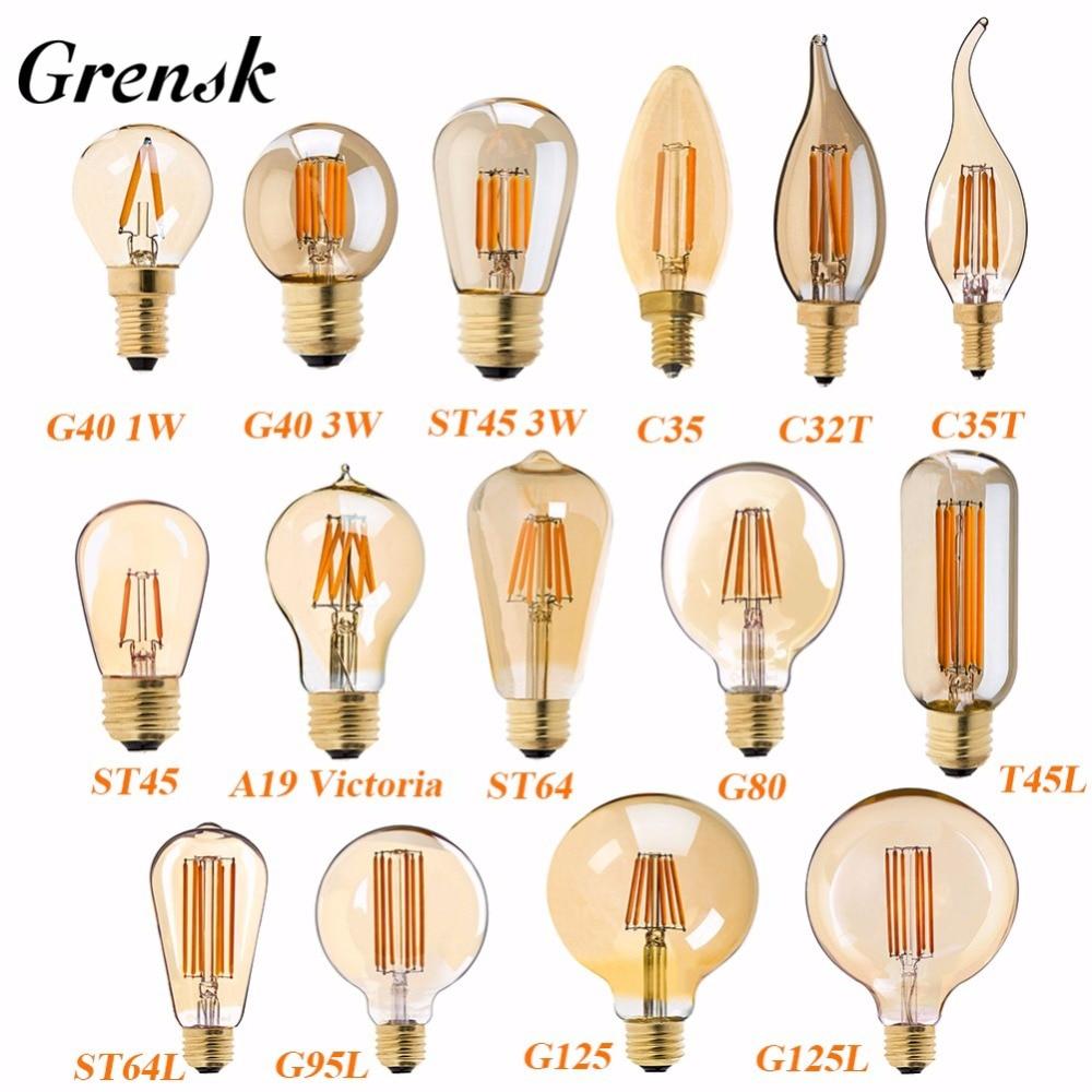 Grensk Retro LED Lamp Dimmable Light Bulb E27 220V Gold 1W 3W 4W 6W 8W E26 110V Edison LED Filament Flame Bulbs 2200K G40 ST64 e27 led 8w white warm white cob led filament retro edison led bulbs 85 265v