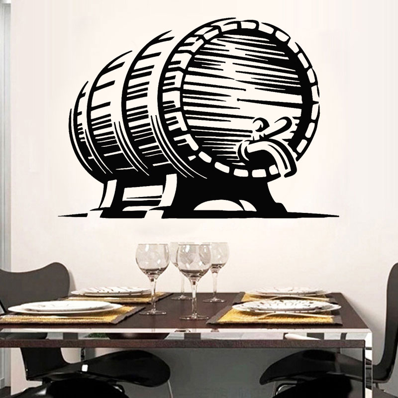 Beer Barrel Hops Craft Pub Bar Brewhouse Vinyl Wall Stickers Home Decor bar shop Mural Self-adhesive Transfer film Decal 3171