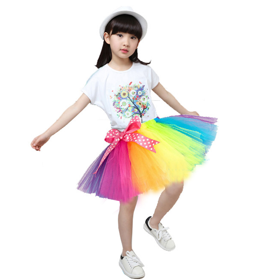 Girls Pettiskirt Baby Tutu Skirts Tulle Puffy Toddler Infant Short Cake Skirt Children Princess Rainbow In From Mother Kids On