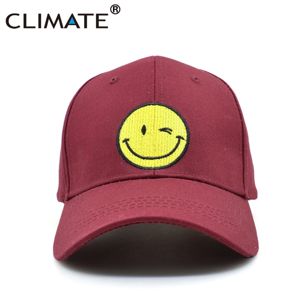 CLIMATE Girls Cute Wine Pink Snapback Baseball Caps Women Adult Women Girls Youth Happy Face Smile Embroidery Hat climate 2017 pocket monster go game pikachu flat snapback caps adult men women animation cartoon cute comic orange eevee hat cap