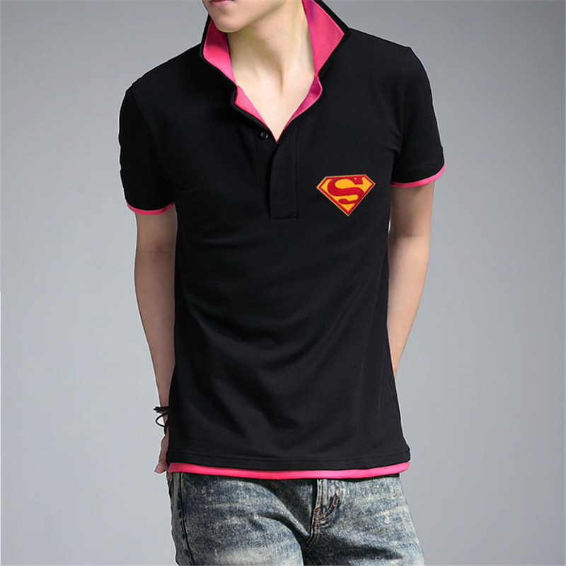 Summer Men Polo Shirts double collar super man design Cool Cotton Slim Fit Casual brand polo shirt for supermen