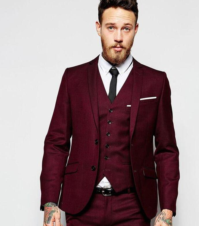 Mans Fashion Three Pieces Burgundy Suits Custom Make Groom Suit (jacket+pants+vest) Classic Fit Bridegroom Tuxedos Tailcoat