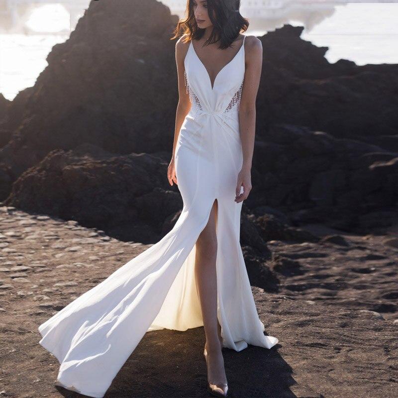 LORIE Mermaid Beach Wedding Dress Spaghetti Straps Boho Bridal Gown Backless Side Split Summer Wedding Gowns