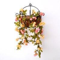 1 stuk Herfst Rose Garland Kunstmatige Rose Vine met Groene Bladeren Bloem Wijnstok Voor Thuis Bruiloft decoratieve bloemen & kransen