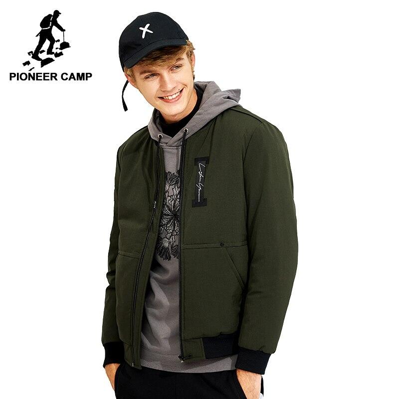 Пионерский лагерь теплая зимняя куртка брендовая мужская одежда повседневные парки мужской воротника Куртка армии цвета: зеленый, черный ...