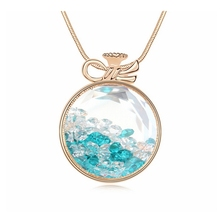 Blue Long Necklace Female Jewelry Crystal Pendant Sweater Chain Women Accessories From Swarovski Elements Gold Plated 3 Colors