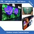 Панели СВЕТОДИОДНЫЙ Экран открытый P6 фиксированная установка простой железного Шкафа, 768 мм * 768 мм 128*128 точек 1/4 сканирования светодиодный знак billboard