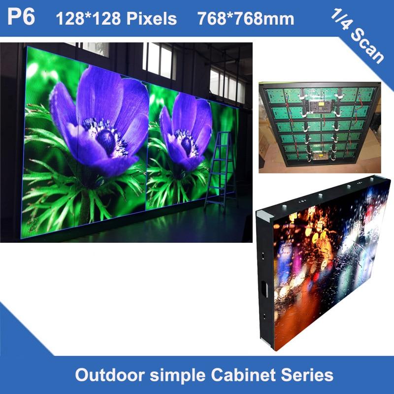 TEEHO панели светодиодный Экран дисплея открытый P6 стационарного использования простой железный шкаф 768 мм * 768 мм 128*128 точек 1/4 просмотров СВЕТ