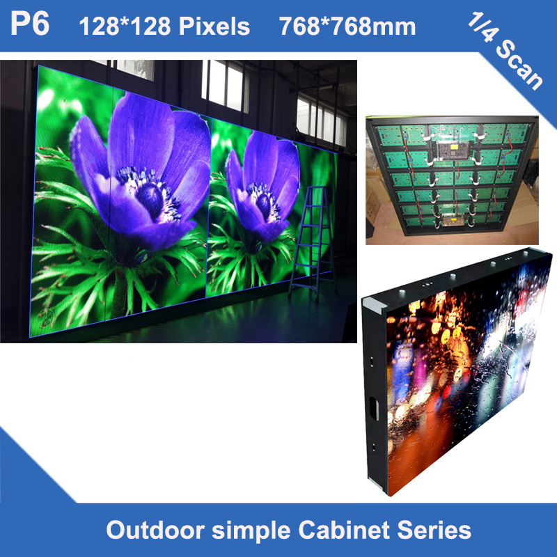 TEEHO panel LED Display Screen outdoor P6 fixed use simple iron Cabinet 768mm*768mm 128*128 dots 1/4 scan led <font><b>sign</b></font> <font><b>billboard</b></font> image