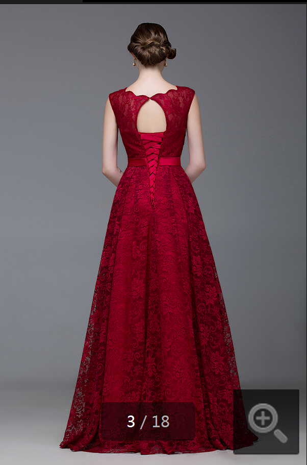 2015 mode rød tæppe scoop halsudskæring vinblonder aftenkjole - Særlige occasion kjoler - Foto 4