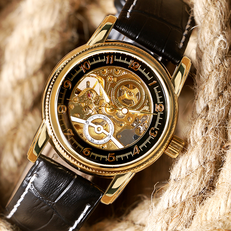 Fashion Luxury Gold Skeleton Watch Mechanical Hand Wind Watch Creative Gear Dial Wristwatch Mens Sports Casual Clock W1941