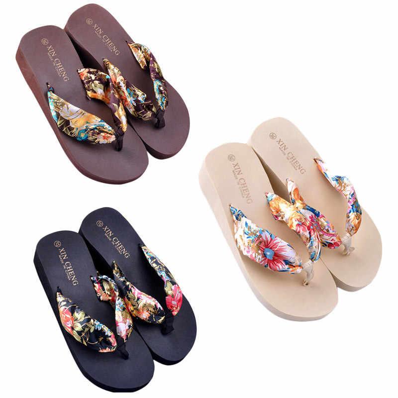 Ayakkabı kadın Bohemia çiçek plaj sandaletleri kama platformu kayış terlik Flip flop zapatos de mujer