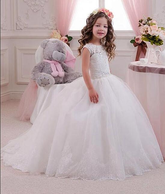 New White Sleeveless Illusion Appliques Kid Ball Gowns Floor Length Flower Girls Dress Lace Up Back Girls Communion Gown guess new white illusion panel halter dress msrp $129 dbfl