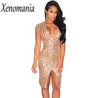 Glitter Dress Paillettes Sequin Dress Women Sexy Bodycon Bandage Club Party Dresses 2017 Fashion V Neck