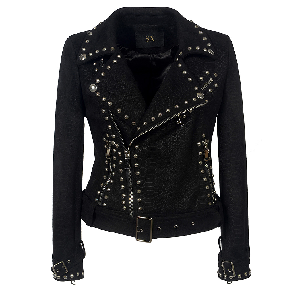 Belt Rivet Gothic faux   leather   PU Jacket Women Winter Autumn Fashion Motorcycle Jacket Black faux   leather   Coat Outerwear 2019
