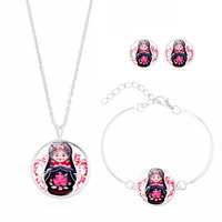 Cheap   Fashion     Jewelry     Set   with Silver Plated Glass Cabochon Russian Dolls Stud Earring Necklace and Bracelet   Set   for Women Party