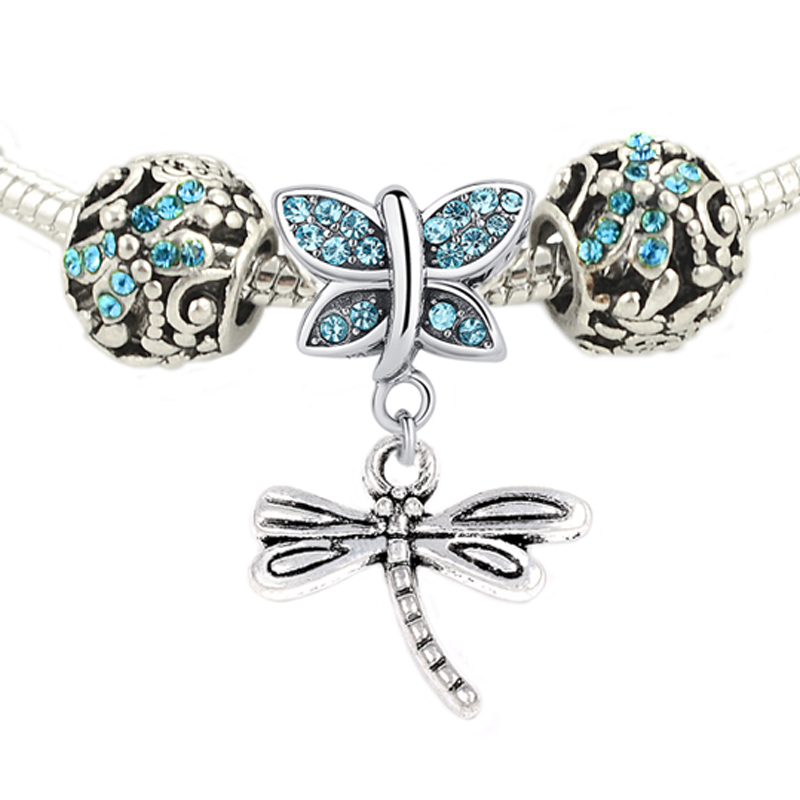1 set silver plated shining butterfly and dragonfly