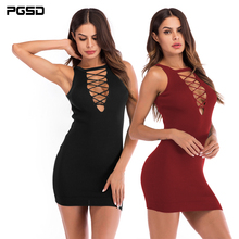 PGSD Simple fashion Pure Women Clothes Deep V collar Hollowed bandage Sleeveless Slim knitted sexy short Sheath Dress female