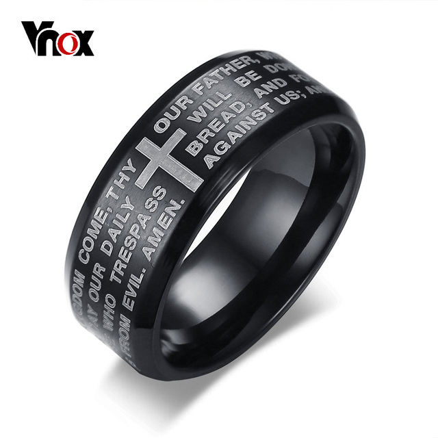 Vnox Engraved Bible Cross Ring for Men 3 Colors Option Stainless Steel Stylish P