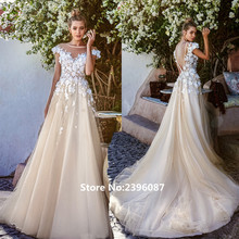 Fnoexw A-Line Wedding dresses Short Sleeve Backless