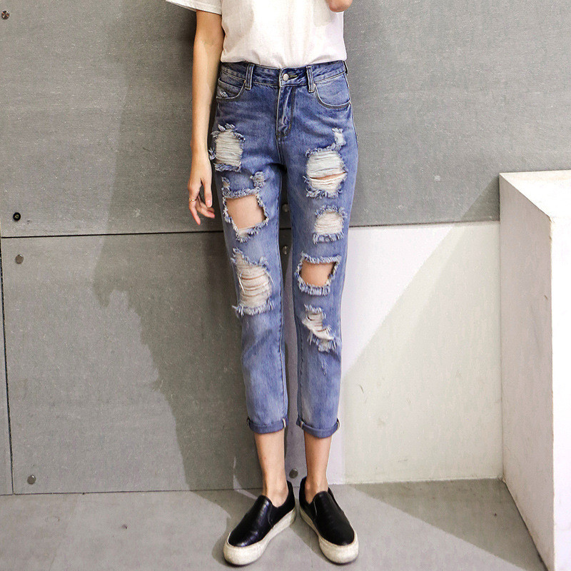 Fashion High Waist jeans,Ankle-length Denim pants,ripped Hole Jeans casual,summer Women jeans,denim Pants Jean New TT1138 new summer vintage women ripped hole jeans high waist floral embroidery loose fashion ankle length women denim jeans harem pants