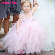 Girls Wedding Dress White Pink Princess Flower Girl Dress with Ribbons  Sashes Baby Girl Party Tutu Dress Children Kids Ball Gown f78154b3be0d