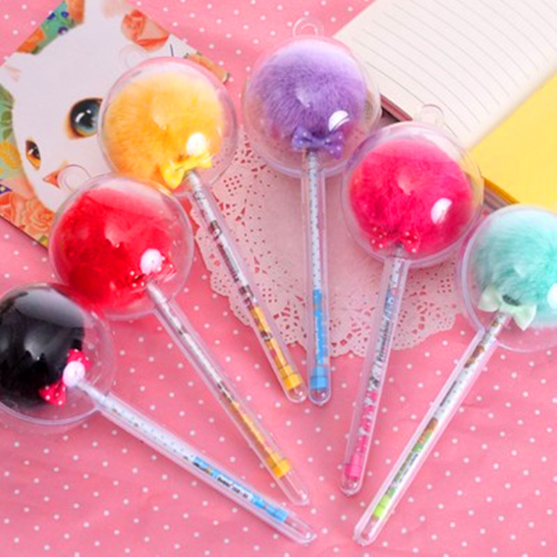 South Korea Creative Candy Color Fur Plush Ball Shape pen Cute Colorful Plush hairBall Gel Pen 0.5 mm Black ink School Supplies