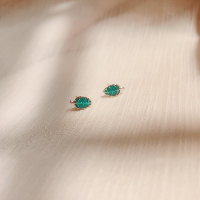 26fb4f14c 925 Sterling Silver Personalized Glazed Blue Leaf Ear Stud Earrings For  Women Girls Kids Allergy-
