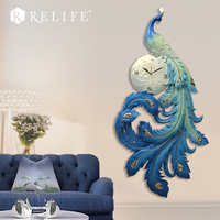 100% Handpainted Peacock Large Decorative Wall   Clocks   Stickers Home   Clock   for Corridor