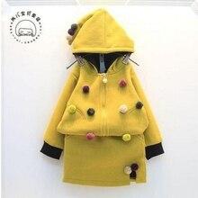 Корейские дети 2016 зима новый девушка с длинными рукавами пиджак + юбка с кашемиром утолщенной 2 шт. комплект бесплатная доставка