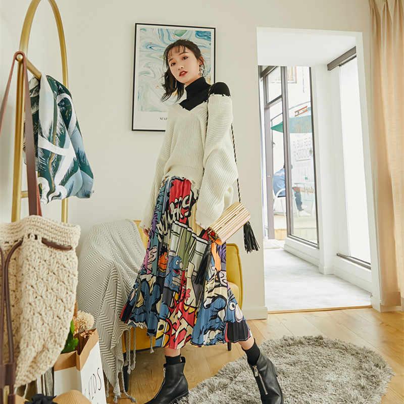 3c58a0ab3 ... 2019 Women Spring Summer Cheap Fashion Ptinted Cartoon Skirt Street  Wear Empire Flare Pleated Midi Skirt ...