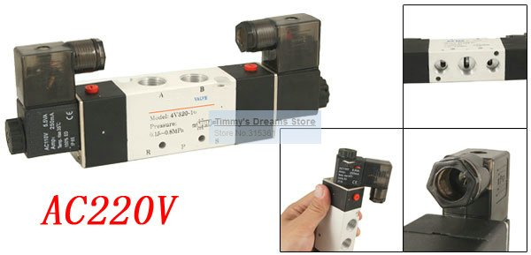 Free Shipping High Quality AC 220V Air Inner Guide Type Solenoid Valve 4V320-10 3/8'' Outlet and Inlet high quality ac 220v 50 60hz 4 way 3mpa heat pump reversing solenoid valve for air condition free shipping