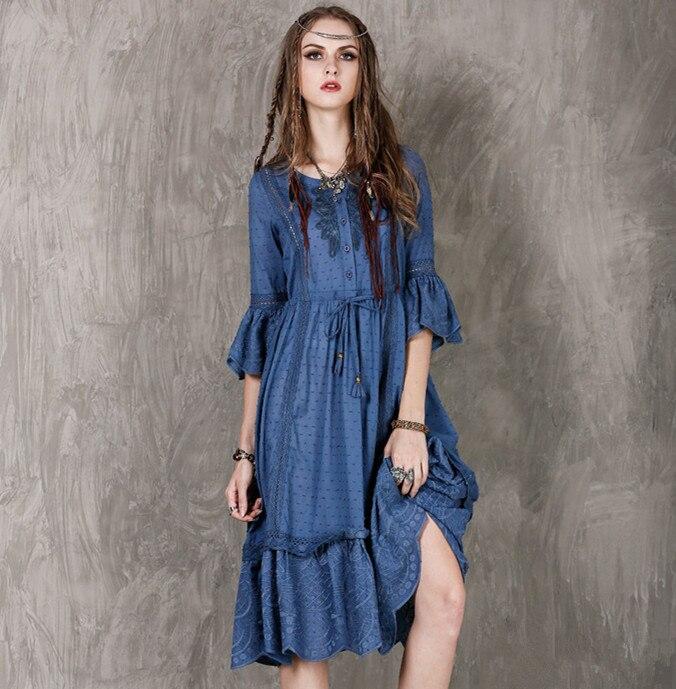 Style britannique rétro brodé trois-quarts manches robe femmes doux coton jacquard grande taille robe