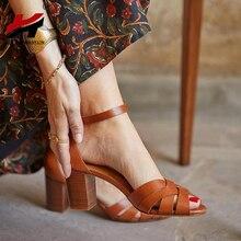 Сандалии женские на высоком каблуке, 3 цвета, в стиле ретроБоссоножки и сандалии    АлиЭкспресс