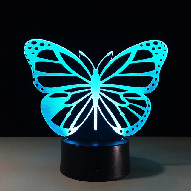 Butterfly Led Bedroom Night Light Acrylic 3d Lamp 7 Colors