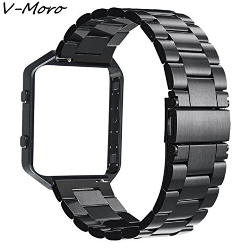Blaze Bands V-MORO 2018 Newest Stailess Steel For Fitbit Blaze Watch Bands With Metal Frame Strap For Fitbit Blaze Smart Fitness for fitbit blaze bands with frame stainless steel watch straps replacement accessory band for fitbit blaze smart fitness watch