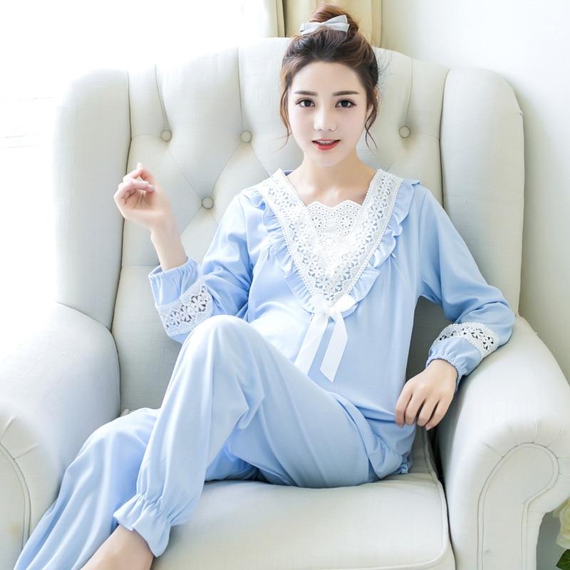 F1918 пижамы для беременных женщин хлопок с длинными рукавами месяц одежда грудное вскармливание послеродовой Грудное вскармливание пижамны...