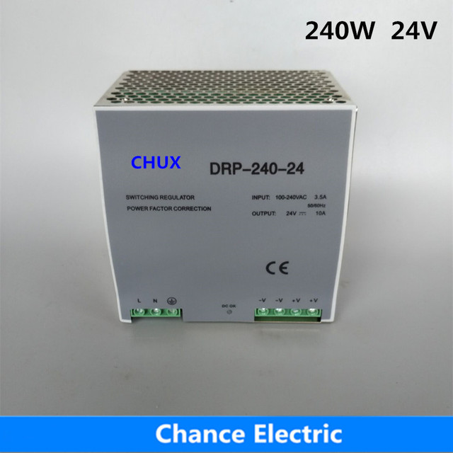 Din rail type switching power supply 240w 24V 10A Single Output  AC/dc input SMPS DR240w-24v for cnc cctv led light