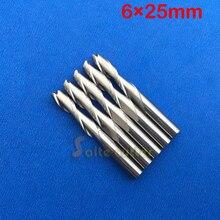 무료 배송 5 pcs 솔리드 카바 이드 6mm endmill 더블 두 피리 나선형 비트 cnc 라우터 비트 ced 6mm cel 25mm