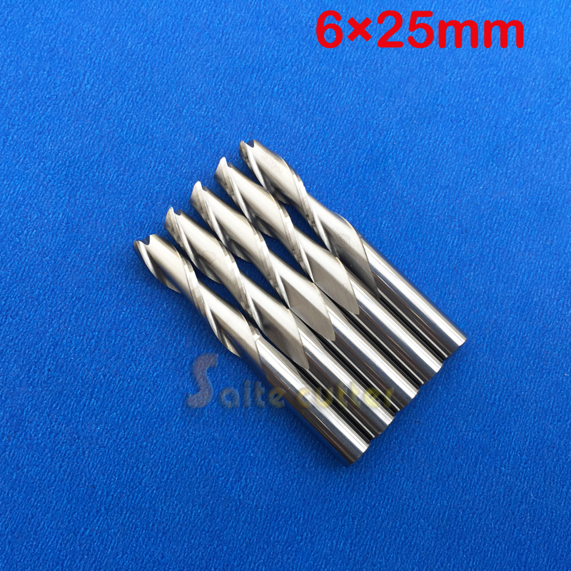 Free Ship 5pcs Solid Carbide 6mm Endmill Double Two Flute Spiral Bit CNC Router Bits CED 6mm CEL 25mm