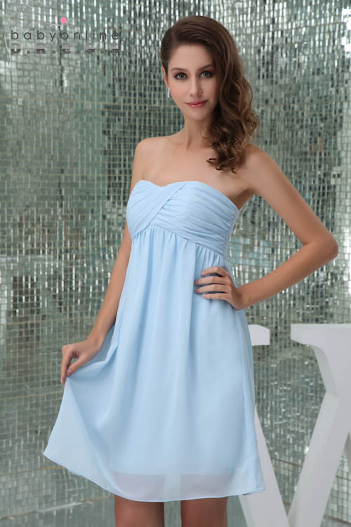 2019 New Arrival Beach Ruched Chiffon Bridesmaid Dresses Strapless Pleat Wedding Soild Party Dresses Short Prom Gown Vestidos