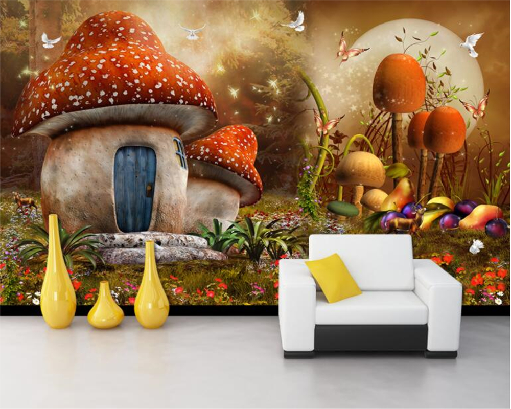 beibehang wall ssenior wallpaper fairy tale dream mushroom house children room background wall murals wallpaper papel de parede beibehang custom wallpaper giant mural painting super aesthetical dream forest moonlight whole house wall murals papel de parede